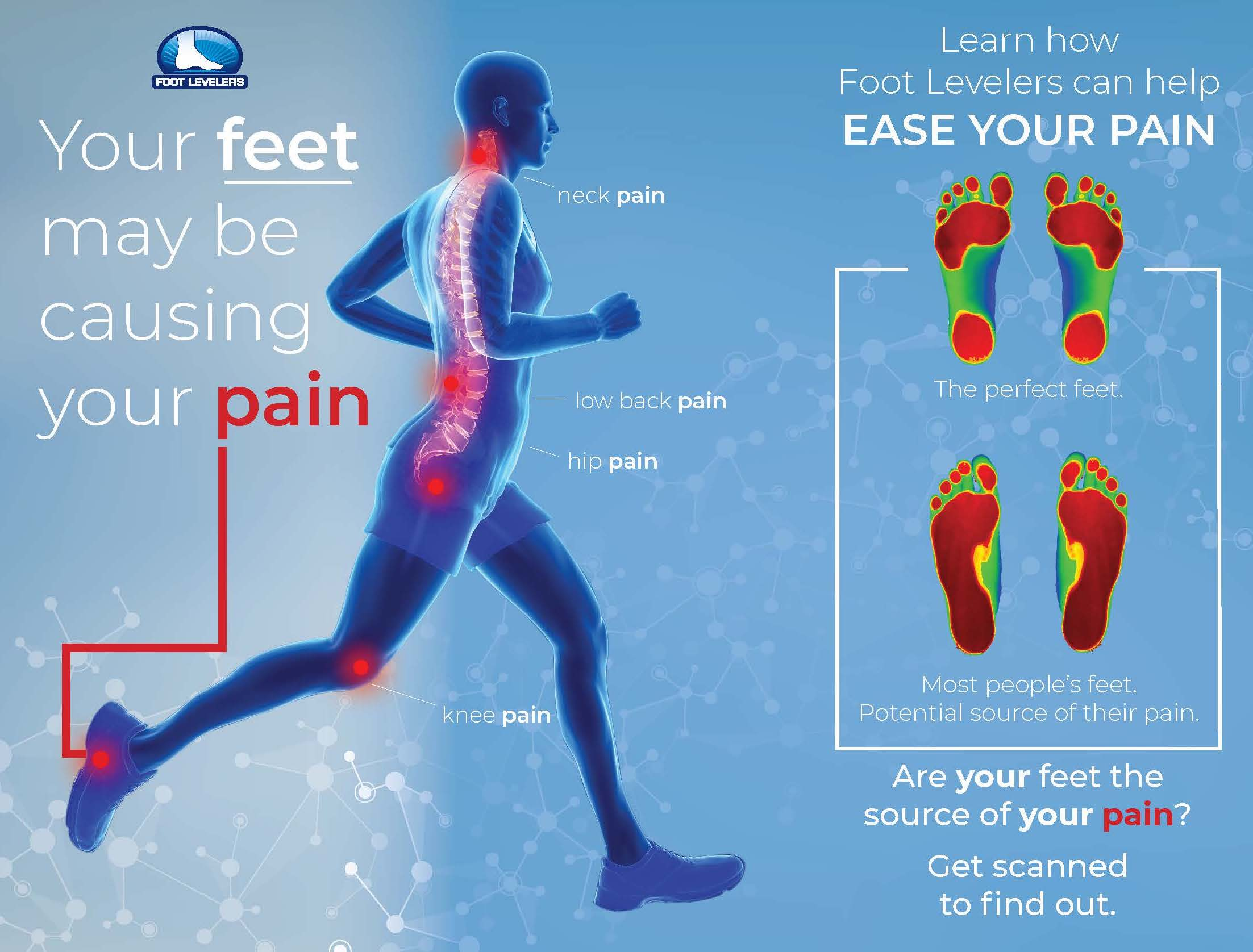 Your feet may be causing your pain - learn how Foot Levelers can help ease your pain - get scanned to find out.